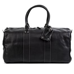BACCINI Reisetasche TOBY - Weekender groß - Sporttasche echt Leder schwarz -