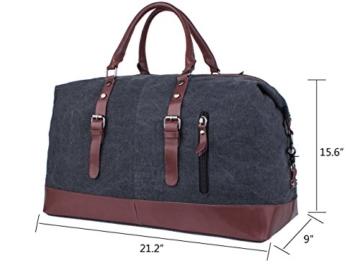 Leaper Weekender Handgepäck Reisetasche Canvas Segeltuch Sporttasche für Reise am Wochenende Urlaub(Schwarz) -